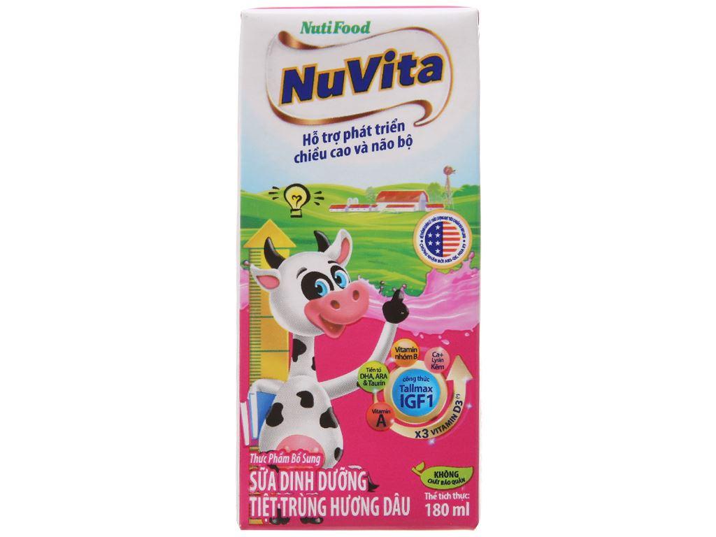 Thùng 48 hộp sữa tiệt trùng NutiFood hương dâu 180ml 2
