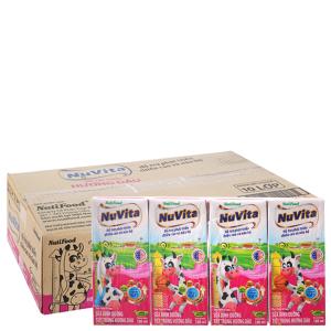 Thùng 48 hộp sữa tiệt trùng NutiFood hương dâu 180ml