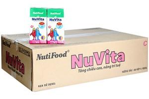Thùng sữa tiệt trùng Nuvita hương Dâu hộp 180ml (48 hộp)