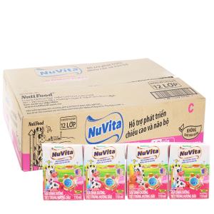 Thùng 48 hộp sữa tiệt trùng Nuvita hương dâu 110ml