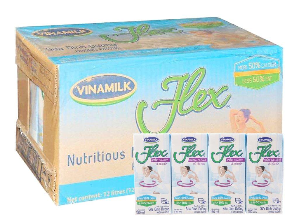 Thùng 48 hộp sữa dinh dưỡng Vinamilk Flex không lactoza 180ml 1
