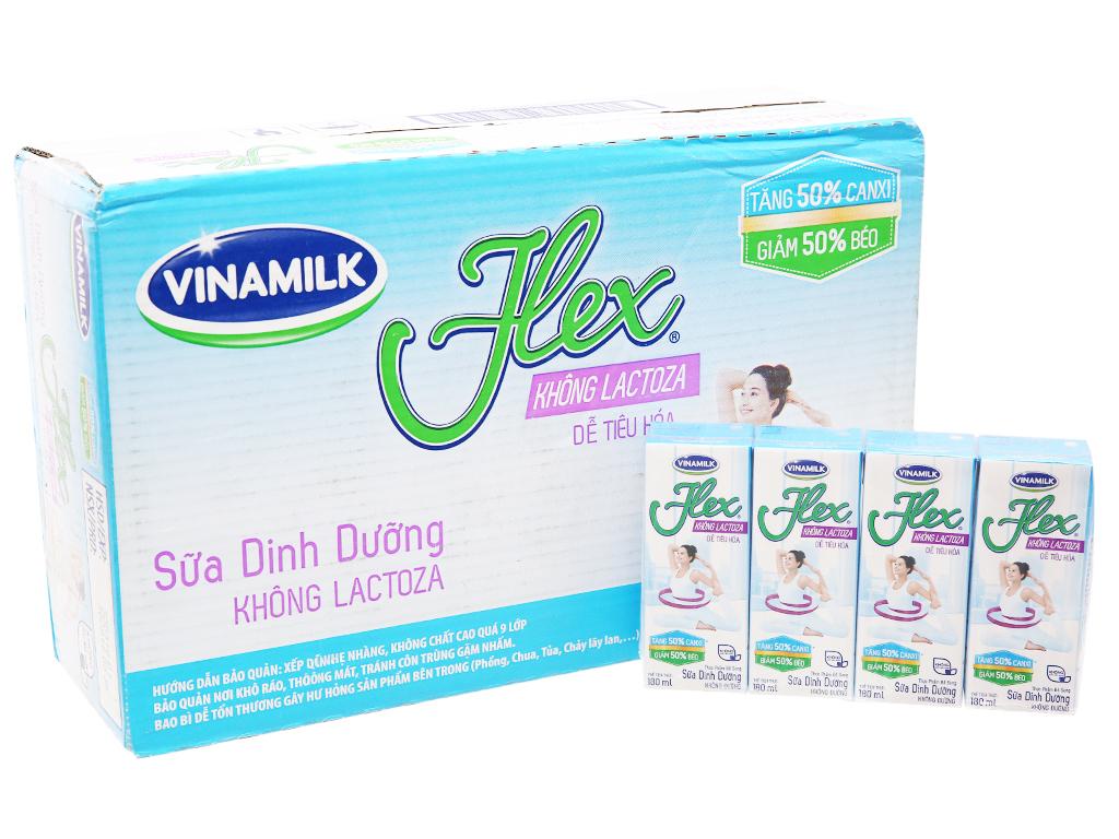 Thùng 48 hộp sữa Vinamilk Flex không Lactoza không đường 180ml 2