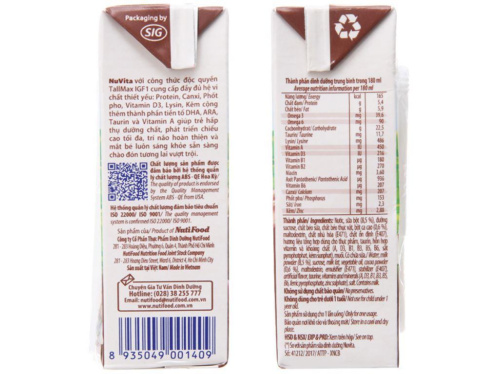 Thùng 48 hộp sữa tiệt trùng socola Nuvita 180ml 5