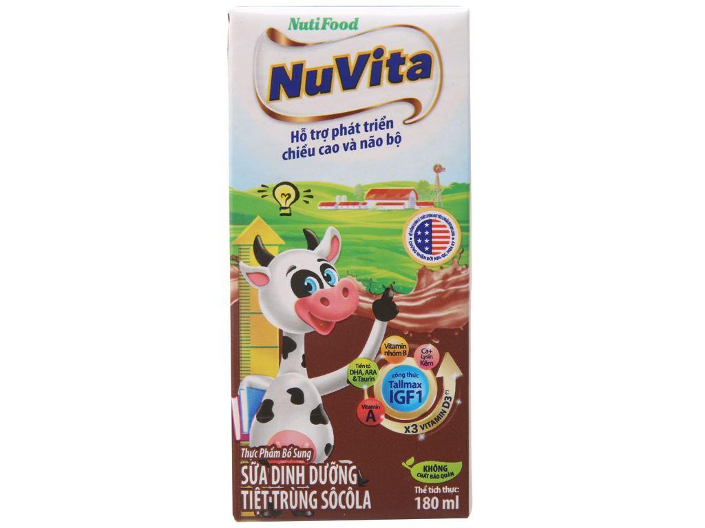 Thùng 48 hộp sữa tiệt trùng socola Nuvita 180ml 3