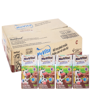 Thùng 48 hộp sữa tiệt trùng Nuvita sô cô la 180ml