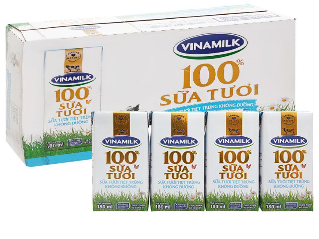 Thùng 48 hộp sữa tươi không đường Vinamilk 100% Sữa Tươi 180ml 6