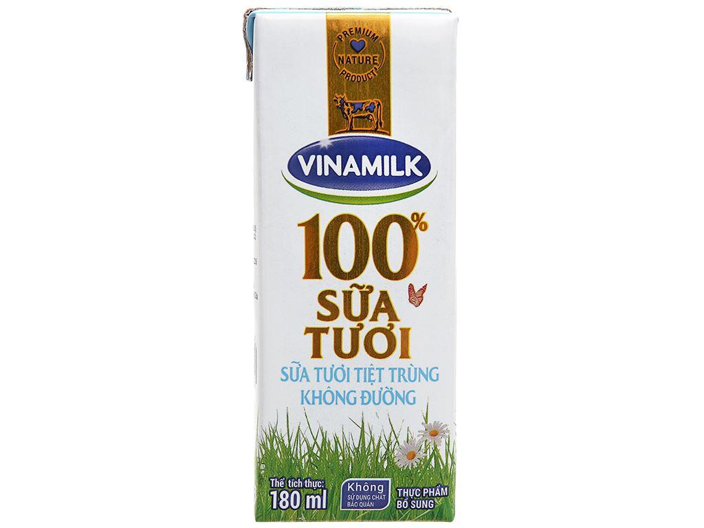 Thùng 48 hộp sữa tươi không đường Vinamilk 100% Sữa Tươi 180ml 7