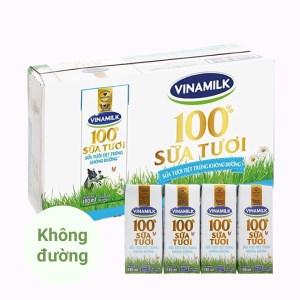 Thùng 48 hộp sữa tươi không đường Vinamilk 100% Sữa Tươi 180ml