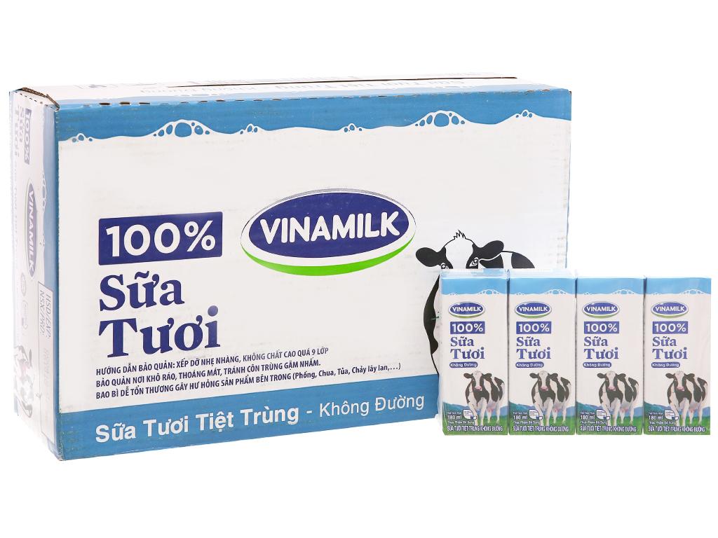Thùng 48 hộp sữa tươi tiệt trùng Vinamilk 100% Sữa Tươi không đường 180ml 2