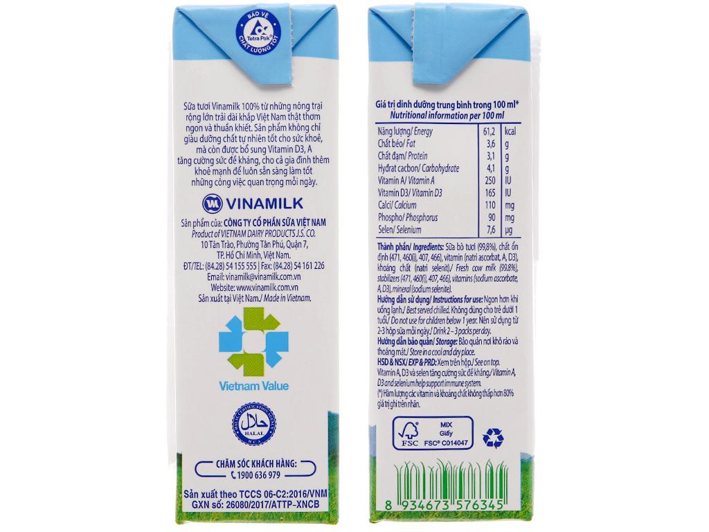 Thùng 48 hộp sữa tươi tiệt trùng Vinamilk 100% Sữa Tươi không đường 180ml 5