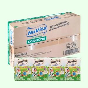 Thùng 48 hộp sữa tiệt trùng có đường Nuvita 110ml