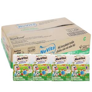 Thùng 48 hộp sữa tiệt trùng Nuvita có đường 110ml