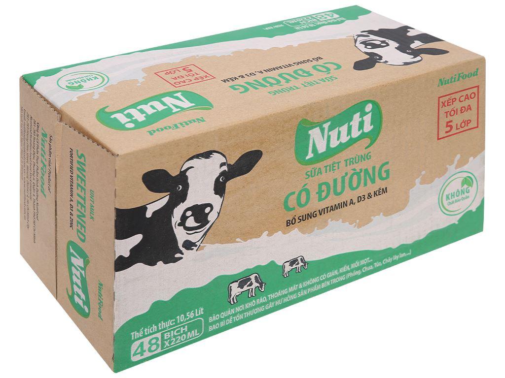 Thùng 48 bịch sữa tiệt trùng có đường Nuti 220ml 1