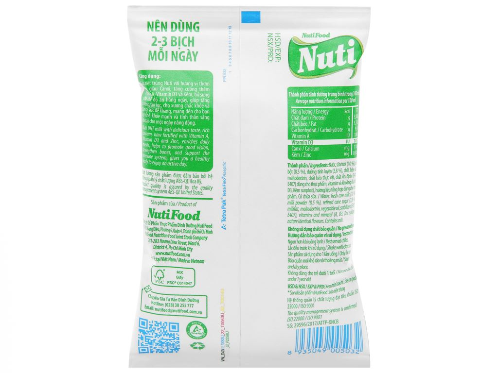 Thùng 48 bịch sữa tiệt trùng có đường Nuti 220ml 3