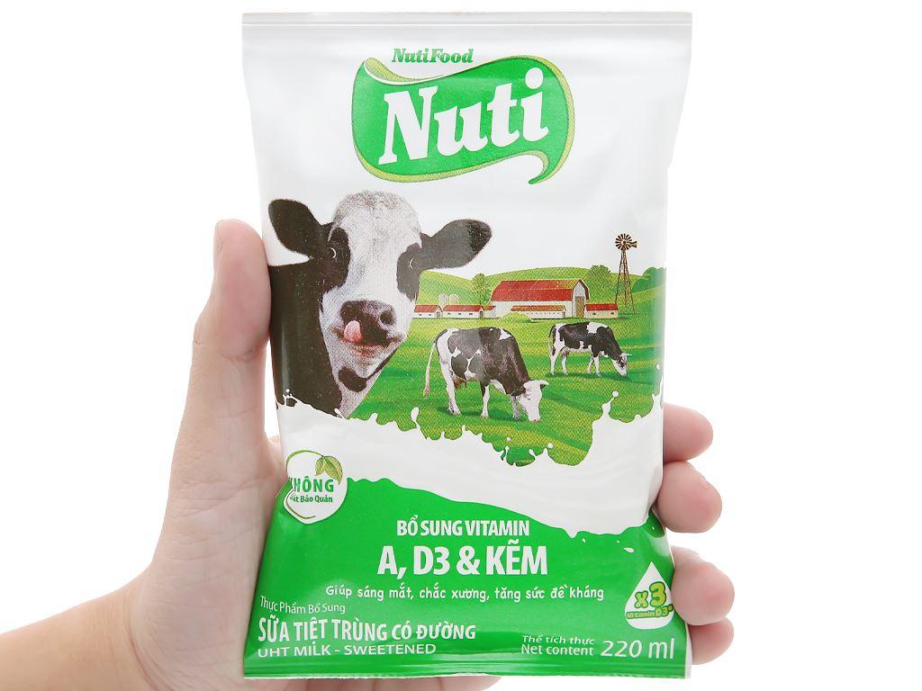 Thùng 48 bịch sữa tiệt trùng có đường Nuti 220ml 6