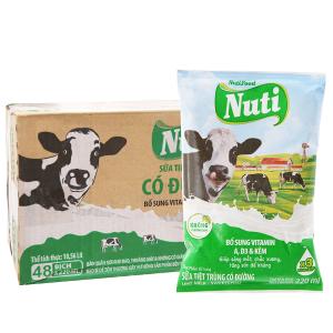 Thùng 48 bịch sữa tiệt trùng Nuti có đường bịch 220ml