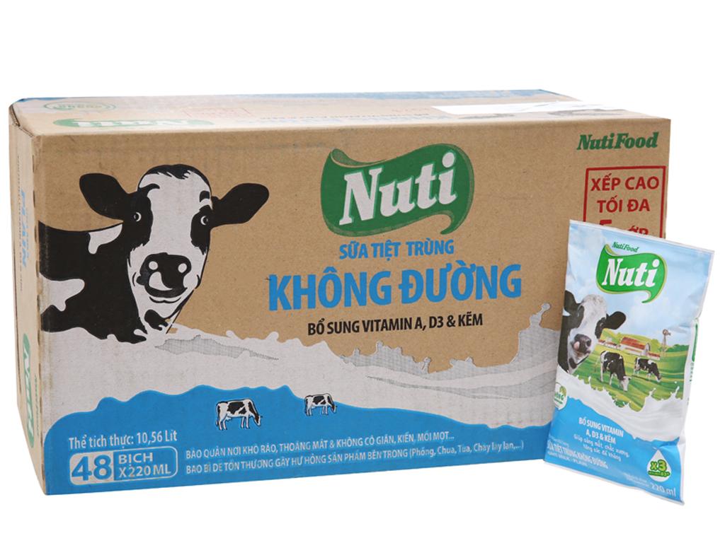 Thùng 48 bịch sữa tiệt trùng Nuti không đường 220ml 2