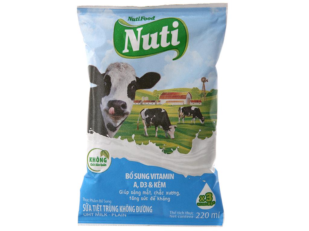 Thùng 48 bịch sữa tiệt trùng Nuti không đường 220ml 3