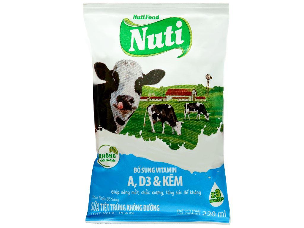 Thùng 48 bịch sữa tiệt trùng không đường Nuti 220ml 2