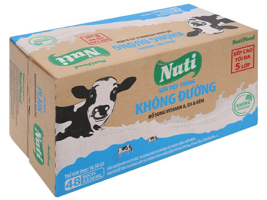Thùng 48 bịch sữa tiệt trùng không đường Nuti 220ml 1