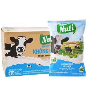 Thùng 48 bịch sữa tiệt trùng Nuti không đường 220ml