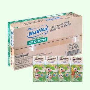 Thùng 48 hộp sữa tiệt trùng có đường Nuvita 180ml
