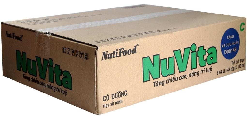 Sữa tiệt trùng Nuvita có đường hộp 180ml ( thùng 48 hộp )
