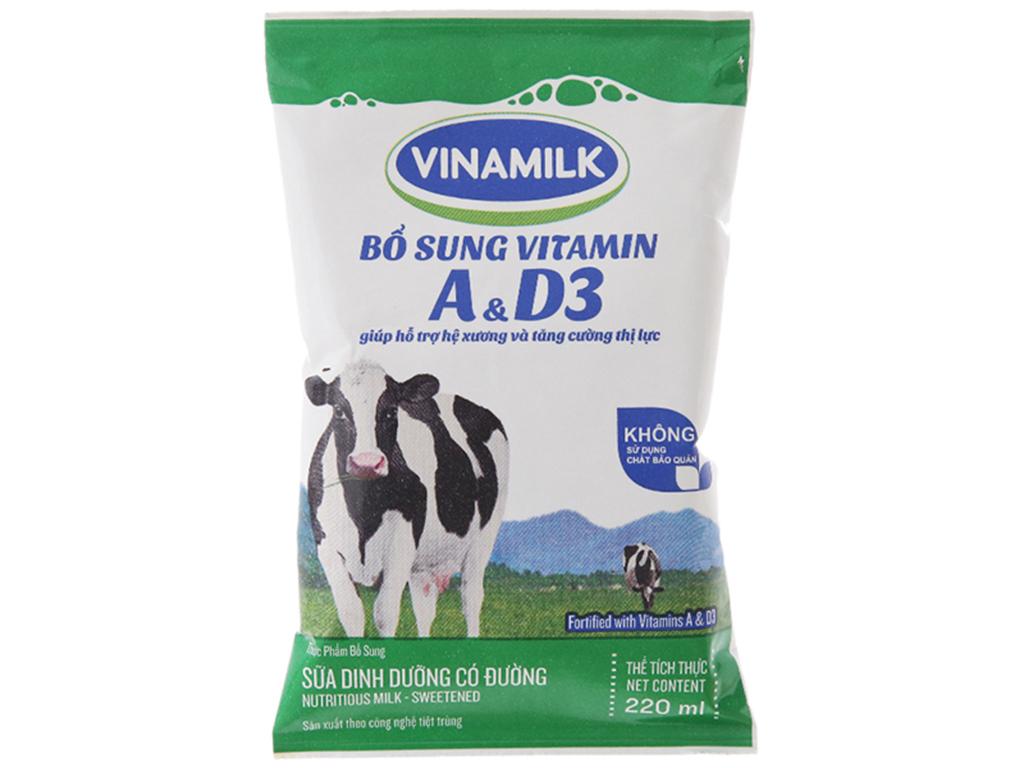 Thùng 48 bịch sữa dinh dưỡng Vinamilk A&D3 có đường 220ml 3