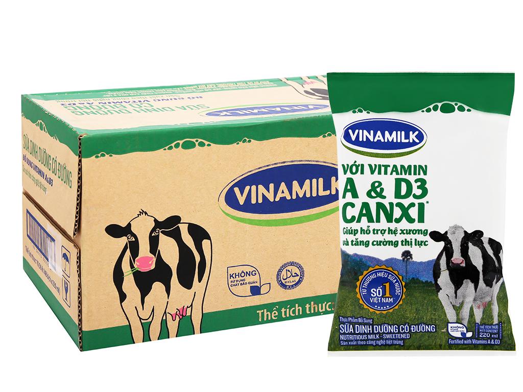 Thùng 48 bịch sữa dinh dưỡng có đường Vinamilk A&D3 220ml 1