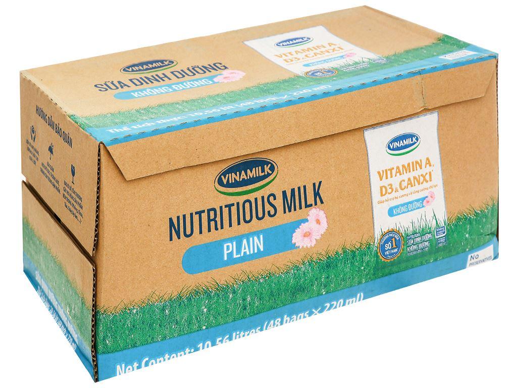 Thùng 48 bịch sữa dinh dưỡng không đường Vinamilk A&D3 220ml 21
