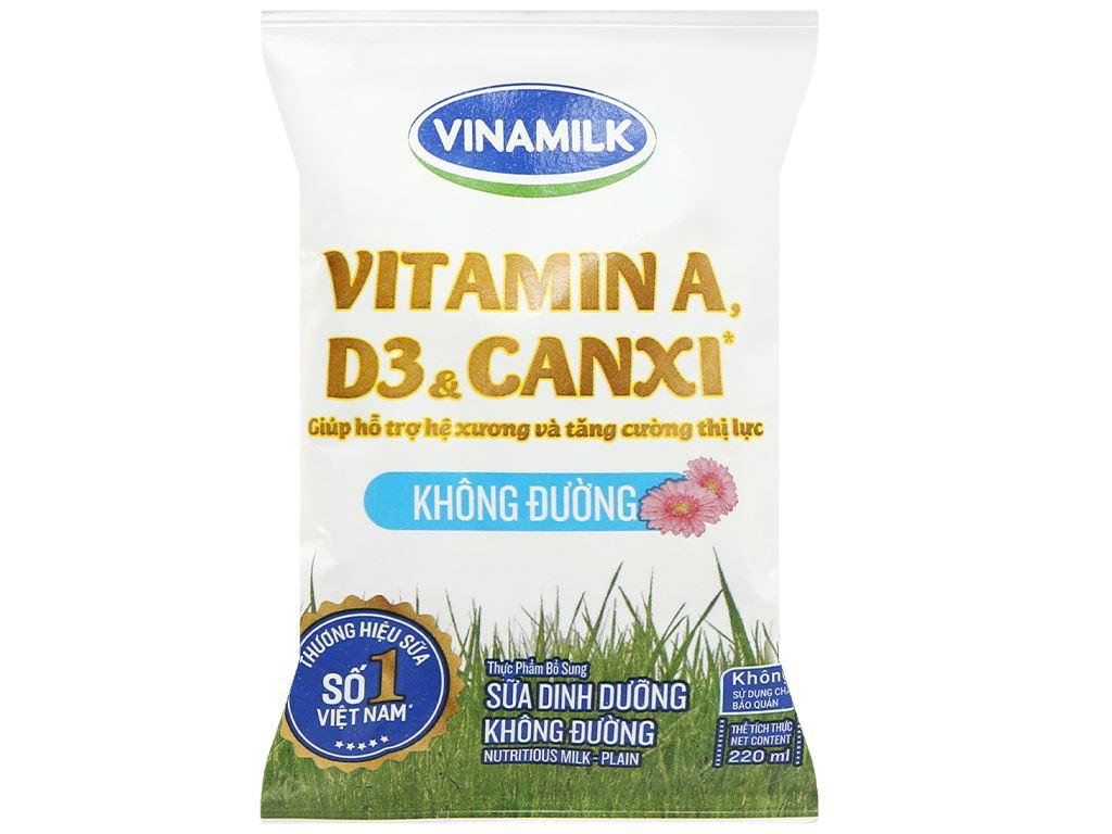Thùng 48 bịch sữa dinh dưỡng không đường Vinamilk A&D3 220ml 22