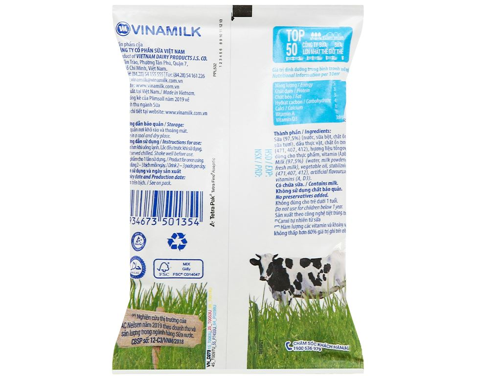 Thùng 48 bịch sữa dinh dưỡng không đường Vinamilk A&D3 220ml 23