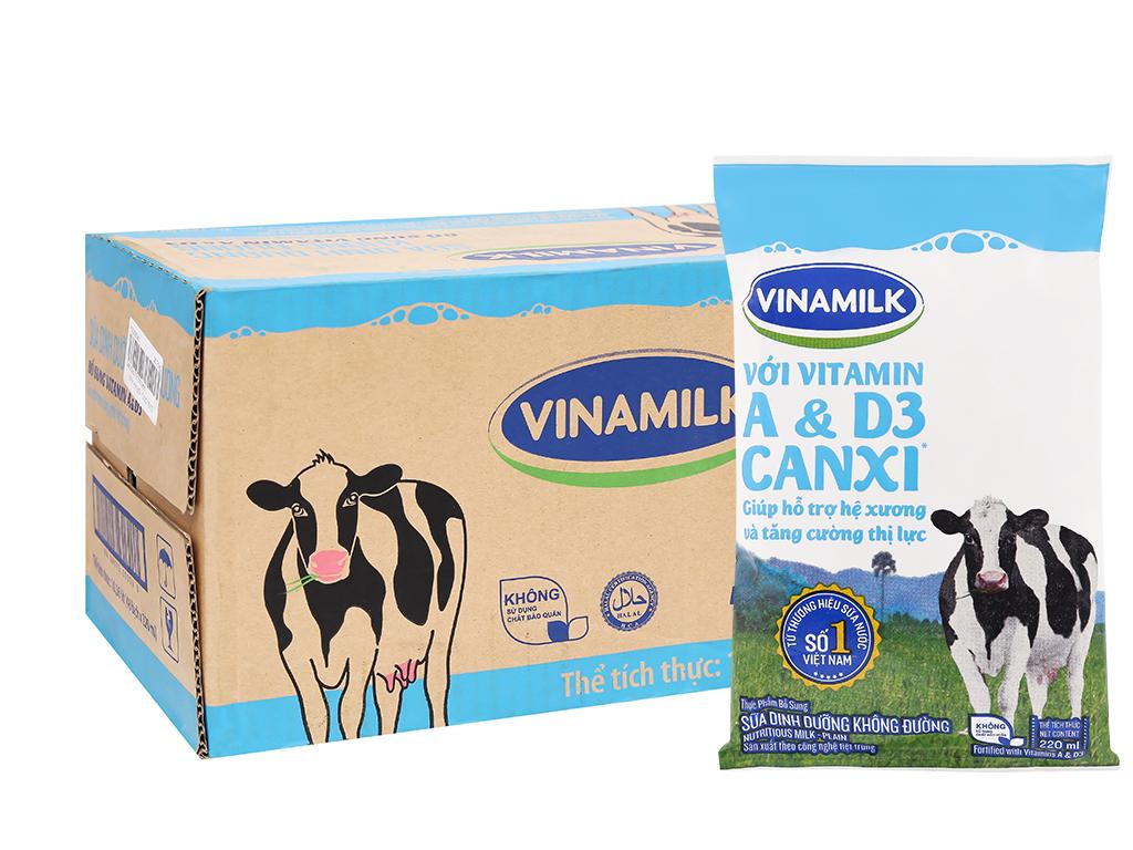 Thùng 48 bịch sữa dinh dưỡng Vinamilk A&D3 không đường 220ml 7