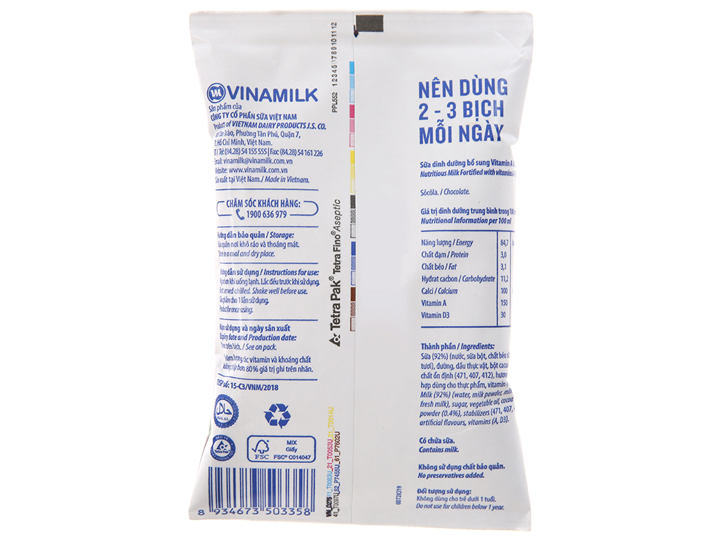 Thùng 48 bịch sữa dinh dưỡng Vinamilk A&D3 sô cô la 220ml 4