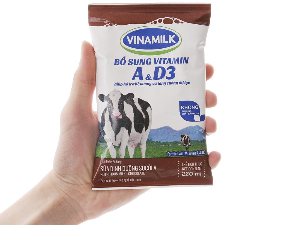 Thùng 48 bịch sữa dinh dưỡng Vinamilk A&D3 sô cô la 220ml 5