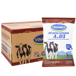 Thùng 48 bịch sữa dinh dưỡng Vinamilk A&D3 sô cô la 220ml