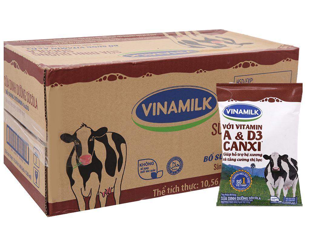 Thùng 48 bịch sữa dinh dưỡng socola Vinamilk A&D3 220ml 7