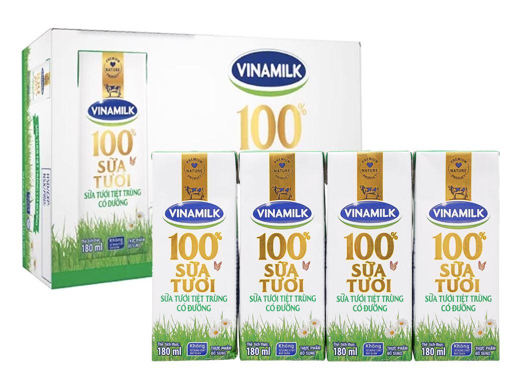 Thùng 48 hộp sữa tươi có đường Vinamilk 100% Sữa Tươi 180ml 6