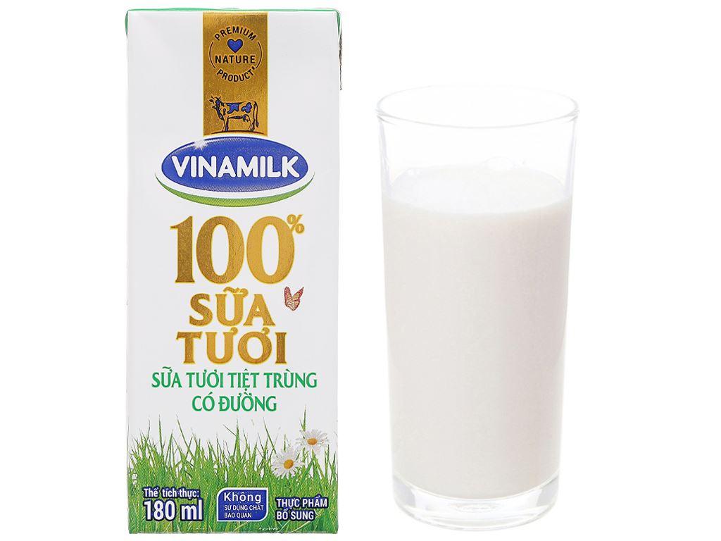 Thùng 48 hộp sữa tươi có đường Vinamilk 100% Sữa Tươi 180ml 12