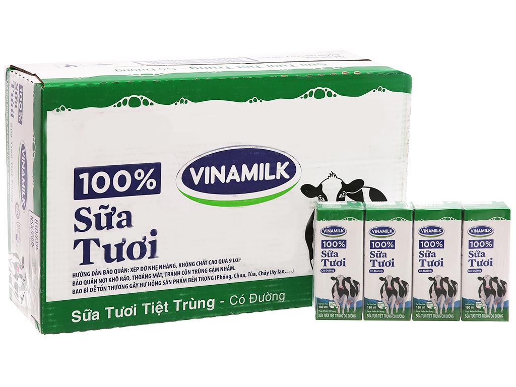 Thùng 48 hộp sữa tươi tiệt trùng Vinamilk 100% Sữa Tươi có đường 180ml 2