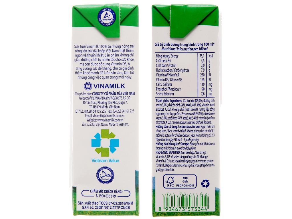 Thùng 48 hộp sữa tươi tiệt trùng Vinamilk 100% Sữa Tươi có đường 180ml 5