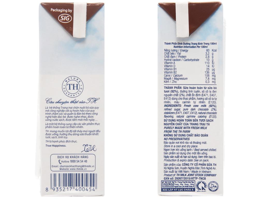 Thùng 48 hộp sữa tươi tiệt trùng socola TH true MILK 180ml 5