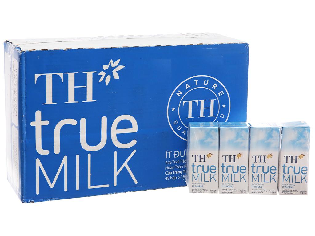 Thùng 48 hộp sữa tươi tiệt trùng TH true MILK ít đường 180ml 2