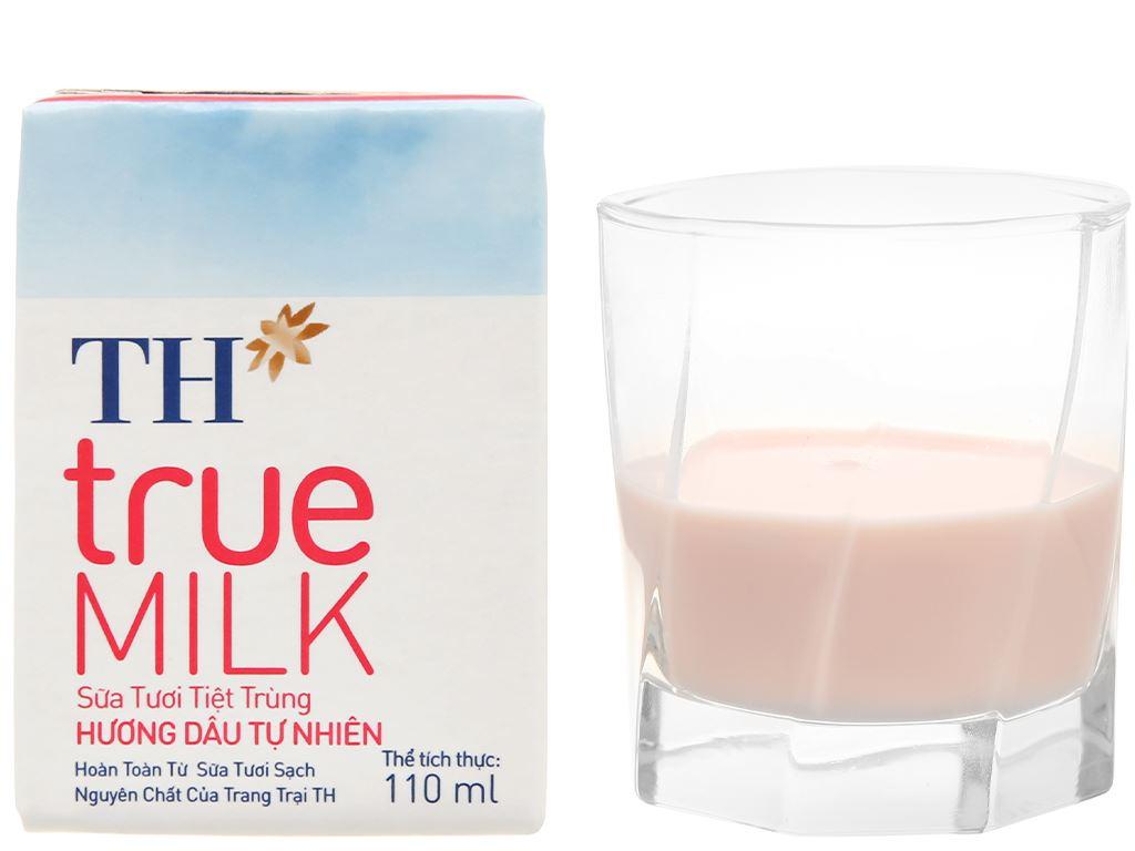 Thùng 48 hộp sữa tươi tiệt trùng hương dâu TH true MILK 110ml 15