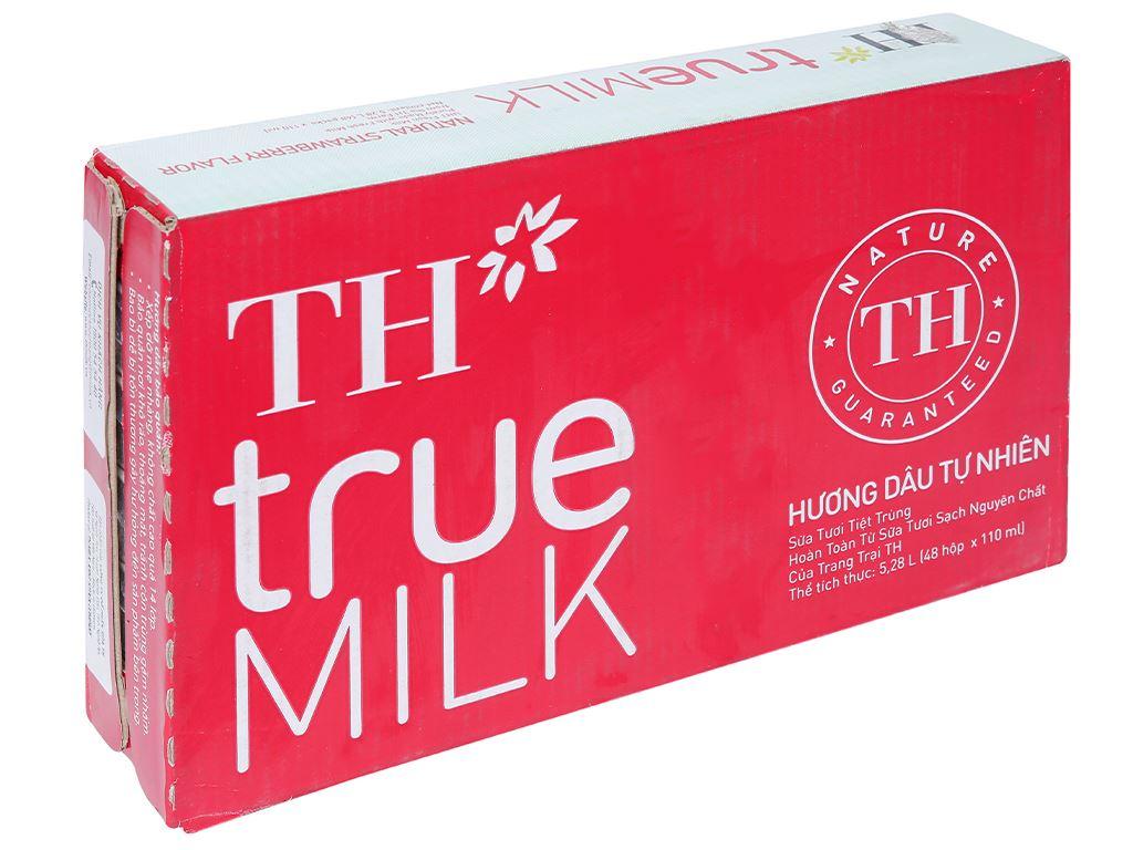Thùng 48 hộp sữa tươi tiệt trùng hương dâu TH true MILK 110ml 1