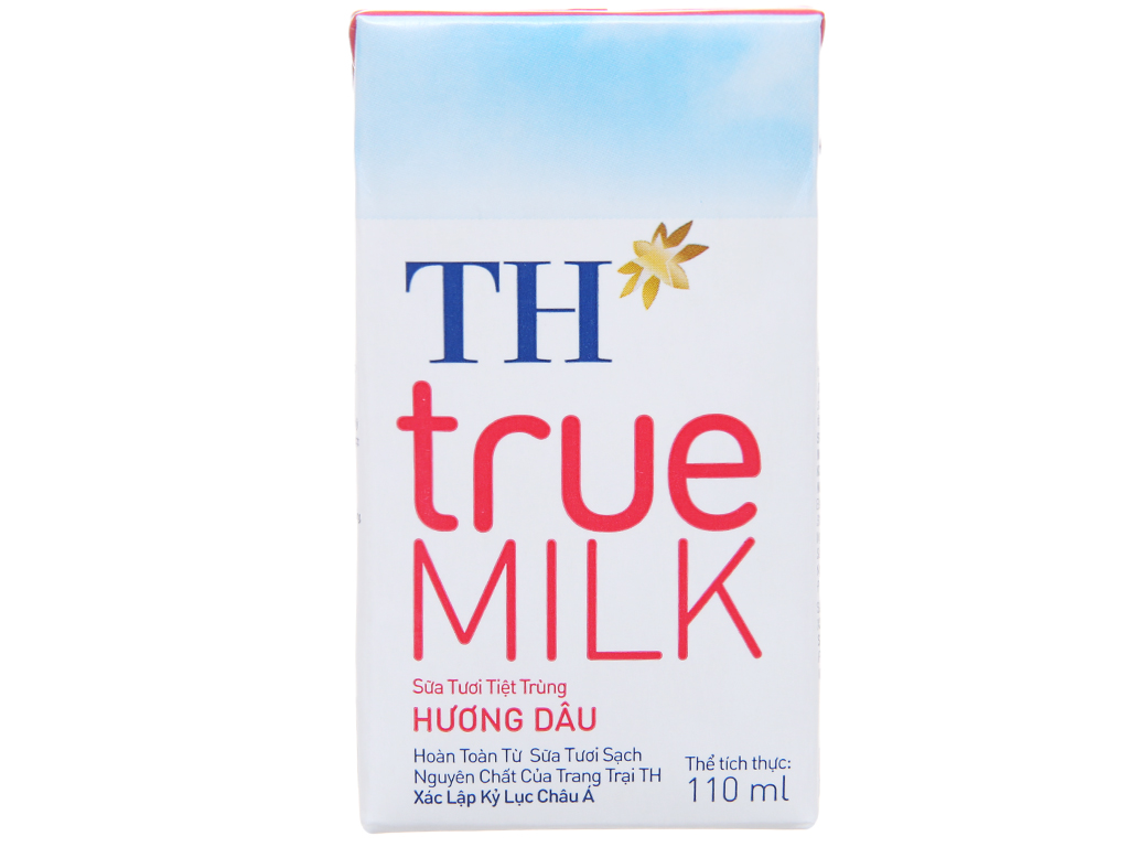 Thùng 48 hộp sữa tươi tiệt trùng hương dâu TH true MILK 110ml 2