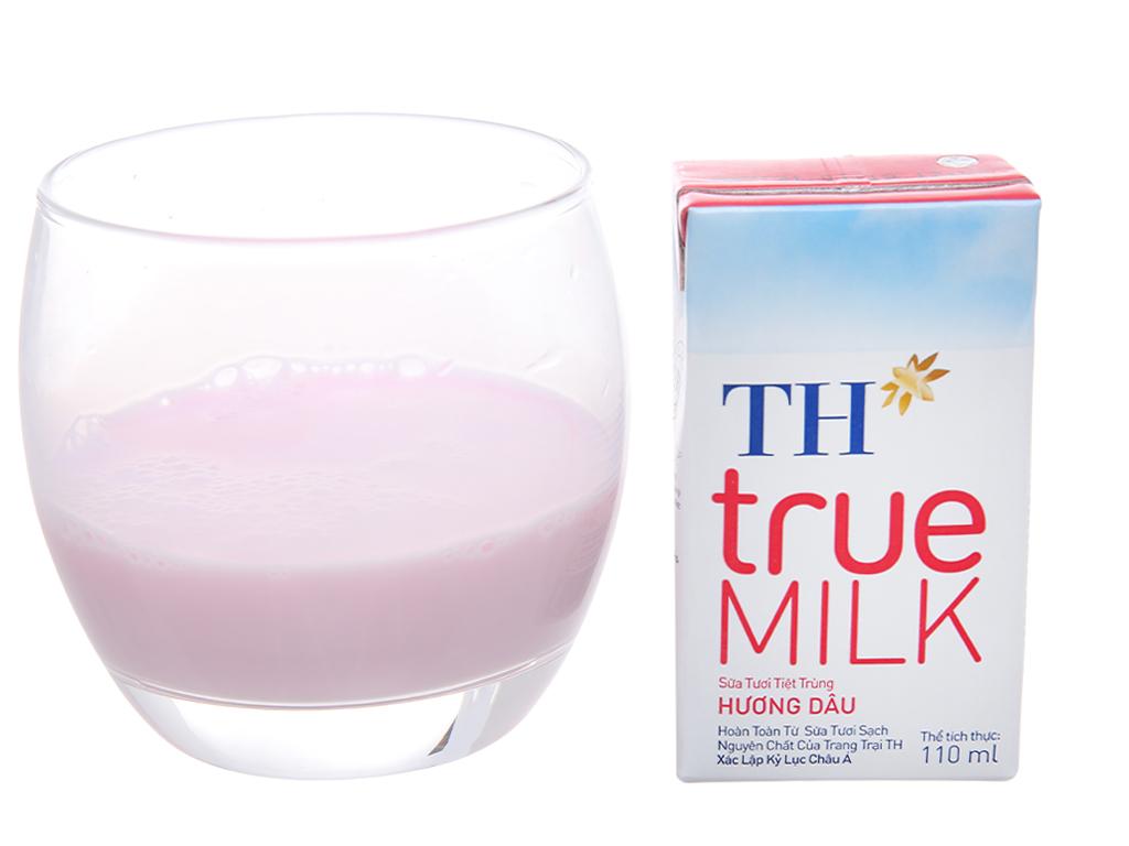 Thùng 48 hộp sữa tươi tiệt trùng hương dâu TH true MILK 110ml 5
