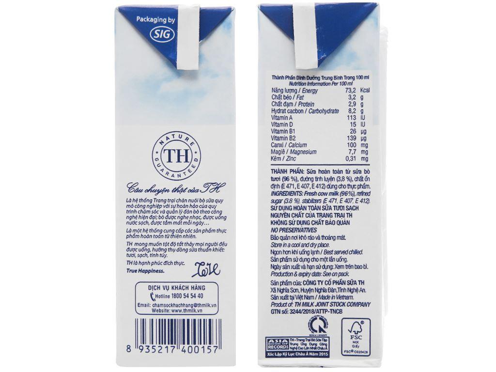 Thùng 48 hộp sữa tươi tiệt trùng có đường TH true MILK 180ml 5
