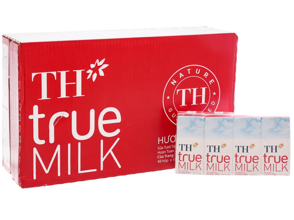 Thùng 48 hộp sữa tươi tiệt trùng TH true MILK hương dâu 180ml 2