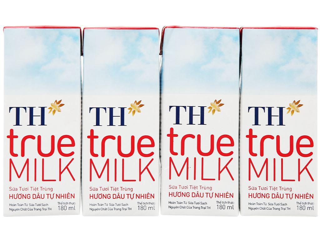 Thùng 48 hộp sữa tươi tiệt trùng hương dâu TH true MILK 180ml 2